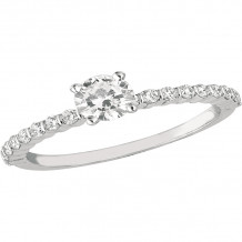 Gemlok 18k White Gold Minilok Diamond Straight Engagement Ring - 6.905SOL-A